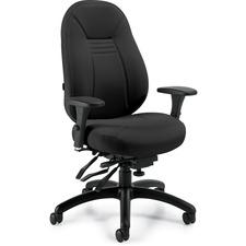 "Global ObusForme 44"" Multi-tier Chair - Black Seat - Black Back - Mid Back - 5-star Base - 1 Each"