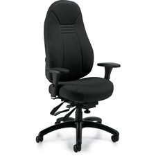 "Global ObusForme 48"" Multi-tier Chair - Black Seat - Black Back - 5-star Base - 26"" Width x 25"" Depth x 48"" Height - 1 Each"
