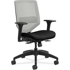 HON Solve SVR1AILC10 Task Chair - Titanium Back - Black Frame - Mid Back - 5-star Base - Black - 1 Each