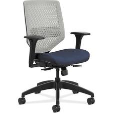 HON Solve SVR1AILC90 Task Chair - Titanium Back - Black Frame - Mid Back - 5-star Base - Navy - 1 Each