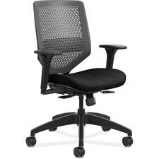 HON Solve SVR1ACLC10 Task Chair - Charcoal Mesh Back - Black Frame - Mid Back - 5-star Base - Fabric - 1 Each