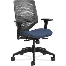 HON Solve SVR1ACLC90 Task Chair - Charcoal Back - Black Frame - Mid Back - 5-star Base - Navy - Fabric - 1 Each