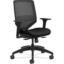 HON Solve SVM1ALC10 Task Chair - Mesh Back - Mid Back - Black - Fabric - 1 Each