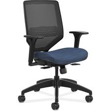 HON Solve SVM1ALC90 Task Chair - Mid Back - Black, Navy - Fabric - 1 Each