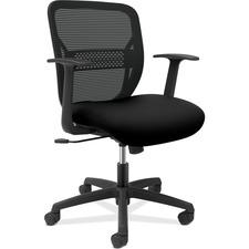 HON Gateway GVFACCF10 Task Chair - Black Seat - Black Mesh Back - Black Frame - Mid Back - Armrest - 1 Each