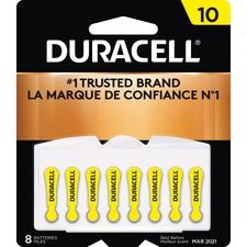 Duracell Battery - For Hearing Aid - 10 - 1.4 V DC - Zinc Air - 8 / Pack