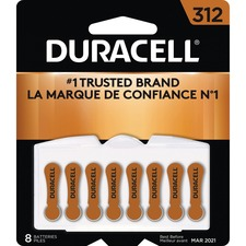 Duracell Battery - For Hearing Aid - 312 - 1.4 V DC - Zinc Air - 8 / Pack