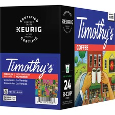Timothy's Colombian Coffee K-Cup - Caffeinated - Colombian La Vereda, Arabica, Floral, Fruity - Medium - Kosher - 24 / Box