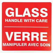 """Spicers Paper Shipping Label - """"Glass Handle With Care"""" - 4"""" Height x 4"""" Width - Self-adhesive Adhesive - Square - Red, White - 500 / Roll"""