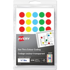 "Avery® See Thru Removable Colour Coding Labels - 3/4"" Diameter - Removable Adhesive - Round - Laser, Inkjet - Red, Yellow, Green, Blue - 35 / Sheet - 6 Total Sheets - 210 / Pack"