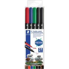 Staedtler Twin Tip Permanent Markers - Fine, Ultra Fine Marker Point - Assorted - 5 / Pack