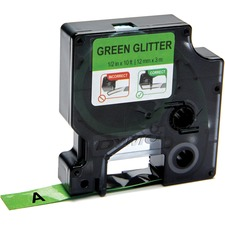 """Dymo COLORPOP! D1 Label Tape - 1/2"""" Width - Permanent Adhesive - Rectangle - Glitter Green - Plastic, Poly - 1 / Pack"""