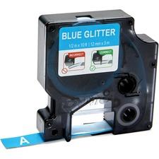 "Dymo COLORPOP! D1 Label Tape - 1/2"" Width - Permanent Adhesive - Rectangle - Glitter Blue - Plastic - 1 / Pack"