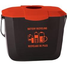 "Globe Battery Collection Bin 2 Gallon - 7.57 L Capacity - Handle - 9.3"" Height x 8.5"" Width - Black, Orange - 1 Each"