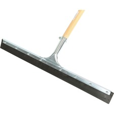 """Globe 24"""" Straight Squeegee Black Rubber Assembled With 54"""" Tapered Wood Handle - 24"""" (609.60 mm) Rubber Blade - 54"""" (1371.60 mm) Wood Handle - Corrosion Resistant, Sturdy, Rust Resistant, Heavy Duty, Handle, Long Lasting, Zinc Plated Frame - Multi"""