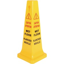 "Globe Wet Floor Sign English/French - 17"" (431.80 mm) Width x 33"" (838.20 mm) Height - Rectangular Shape - Foldable, Durable - Plastic - Yellow"