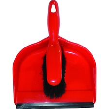 Globe Clip-On Dust Pan And Brush Set - Red, Black - 1 Each