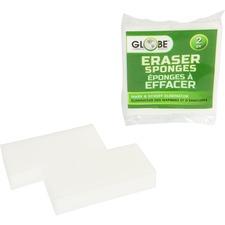 """Globe Eraser Sponge - 1"""" Height x 4.8"""" Width x 2.4"""" Length - 2/Pack - White"""