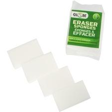 """Globe Eraser Sponge - 1.4"""" Height x 4.8"""" Width x 2.8"""" Length - 4/Pack - White"""