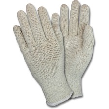 Safety Zone Work Gloves - Thermal Protection - Small Size - Polyester Cotton - Natural - Lightweight, Knitted - For Packaging - 12 / Dozen
