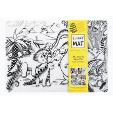 "Funny Mat Reusable Tabletop Coloring Mat - 18.90"" (480 mm) Length x 13.19"" (335 mm) Width - Dinosaur Print - Polypropylene - White, Black - 1 Each"