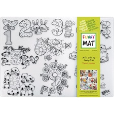 """Funny Mat Reusable Tabletop Coloring Mat - 18.90"""" (480 mm) Length x 13.19"""" (335 mm) Width - Numbers Print - Polypropylene - White, Black - 1 Each"""