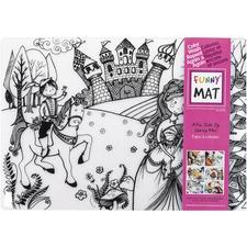 "Funny Mat Reusable Tabletop Coloring Mat - 18.90"" (480 mm) Length x 13.19"" (335 mm) Width - Princess Print - Polypropylene - White, Black - 1 Each"