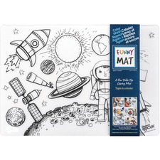"Funny Mat Reusable Tabletop Coloring Mat - 18.90"" (480 mm) Length x 13.19"" (335 mm) Width - Space Print - Polypropylene - White, Black - 1 Each"