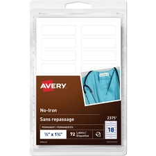 "Avery® ID Label - 1/2"" Height x 1 3/4"" Width - Permanent Adhesive - Rectangle - White - Fabric - 18 / Sheet - 4 Total Sheets - 72 / Pack"
