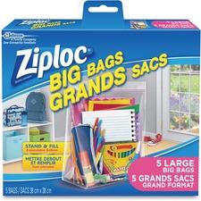 "Ziploc® Big Bags - Large Size - 11.36 L - 15"" (381 mm) Width x 15"" (381 mm) Length - Plastic - 5/Box - Multipurpose"