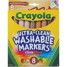 Crayola Ultra-Clean Marker - Wide Marker Point - Golden Beige, Tawny, Beige, Bronze, Mahogany, Tan, Sienna, Terracotta - 8 / Pack