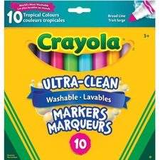 Crayola Ultra-Clean Marker - Wide Marker Point - Tropical - 10 / Box