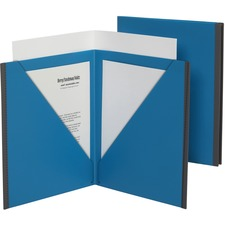 "Pendaflex Letter, Tabloid Pocket Folder - 8 1/2"" x 11"" , 17"" x 11"" - 60 Sheet Capacity - 3 Pocket(s) - Poly - Blue, Gray - 5 / Pack"
