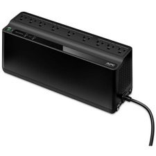 850VA APC Security Battery - 50 VA / 450 W backup battery power supply. 9 outputs (NEMA 5-15R): 6 UPS backup batteries with surge protection outlets, and 3 surge protection outlets. Two USB charging ports (2.4A shared). 1.5m power cord, 3-prong right-angle wall outlet (NEMA 5-15P). Wall mount. 12.87 x 5.47 x 4.13 in. 8 hours. 120V.