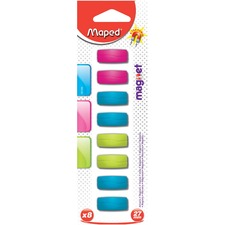 """Maped Board Magnet - 1.06"""" (27 mm) Diameter - Rectangle - 8 / Pack - Assorted"""