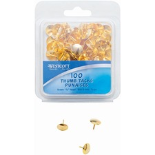 """Westcott Brass Thumb Tacks (3/8"""" dia.), 100/clamshell - 0.38"""" (9.53 mm) Head - for Memo, Pictures - Smooth - 100 / Box - Brass, Steel, Steel"""