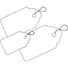 """Merangue ID Tag - 1.25"""" (31.75 mm) Length x 1.85"""" (46.99 mm) Width - String Fastener - 1000 / Box - White"""