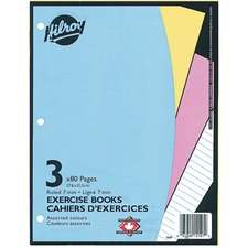 """Hilroy Ruled Exercise Book - 80 Pages - Ruled - 3 Hole(s) - 10.88"""" (276.23 mm) x 8.38"""" (212.73 mm) - Hole-punched - 3 / Pack"""