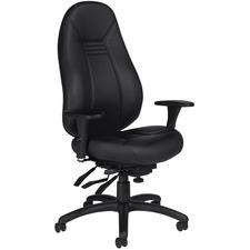 Global ObusForme Comfort High Back Multi-Tilter - Black Mock Leather Seat - Black Mock Leather Back - High Back - 5-star Base - Armrest - 1 Each