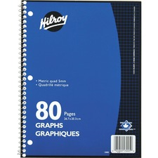 """Hilroy Spiral Notebook - 80 Pages - Spiral - Quad Ruled - 3 Hole(s) - 10.50"""" (266.70 mm) x 8"""" (203.20 mm) - Hole-punched - 1Each"""
