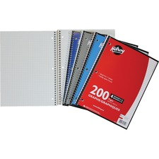 """Hilroy Spiral Notebook - Spiral - Quad Ruled - 3 Hole(s) - 10.50"""" (266.70 mm) x 8"""" (203.20 mm) - Hole-punched - 1Each"""