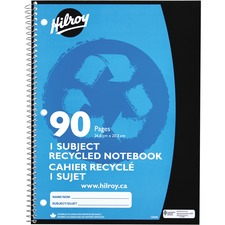 """Hilroy Recycled Notebook - 45 Sheets - 90 Pages - Ruled - 10 1/2"""" x 8"""" - Spiral Bound - Recycled - 1Each"""