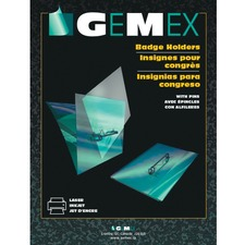 Gemex Identification Badges with Pin - 100 / Box - Perforated, Insertable