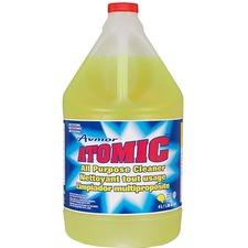 Avmor Atomic All-Purpose Cleaner - 135.3 fl oz (4.2 quart) - Lemon Scent - 4 / Pack - Fluorescent Green