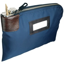 """MMF UltimaSeven Classic Locking Security Bag, 12"""" x 9"""" , Laminated Nylon - 12"""" (304.80 mm) Width x 9"""" (228.60 mm) Length - Navy - Nylon, Fabric - 1Each - Business Card, Storage"""