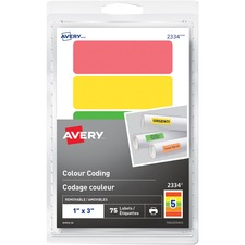 """Avery® Removable Rectangular Colour Coding Labels - 1"""" Width x 3"""" Length - Removable Adhesive - Rectangle - Green, Orange, Red, Yellow - 5 / Sheet - 15 Total Sheets - 75 Total Label(s) - 75 / Pack"""