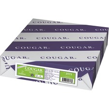 """Domtar Cougar Colored Paper - White - 98 Brightness - Letter - 8 1/2"""" x 11"""" - 28 lb Basis Weight - Super Smooth - 500 / Pack"""