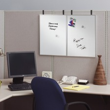 """Quartet Arc Cubicle Board - 24"""" (2 ft) Width x 14"""" (1.2 ft) Height - White Surface - Aluminum Frame - Rectangle - 1 Each"""