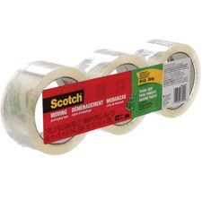 "3M Scotch® Moving Tape - 54.7 yd (50 m) Length x 1.89"" (48 mm) Width - 3 / Pack - Transparent"