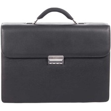 "bugatti Carrying Case (Briefcase) for 16"" Notebook - Black - Top Grain Leather - Shoulder Strap, Handle - 12"" (304.80 mm) Height x 16.50"" (419.10 mm) Width x 4.75"" (120.65 mm) Depth - 1 Pack"